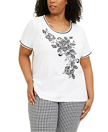 Plus Size Checkmate Floral Graphic Top