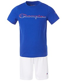 Toddler Boys 2-Pc. Open Script Two-Tone Logo T-Shirt and Taped Shorts Set