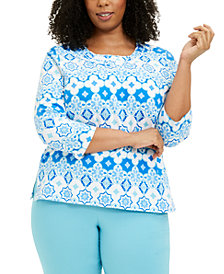 Alfred Dunner Plus Size Sea You There Printed Top