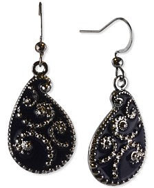 Black-Tone Pear-Shape Drop Earrings, Created for Macy's
