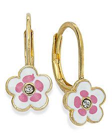 Children's 18k Gold over Sterling Silver Earrings, White and Pink Enamel Flower Earrings