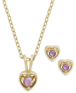 Children's 18k Gold over Sterling Silver Necklace and Earrings Set, February Birthstone Amethyst Heart Pendant and Stud Earrings Set (1/5 ct. t.w.)