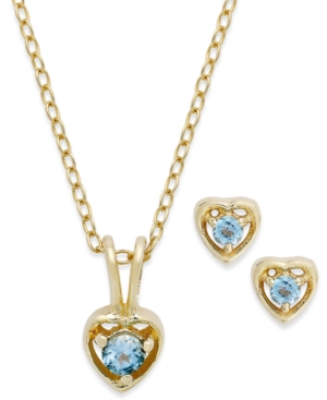 Children's 18k Gold over Sterling Silver Necklace and Earrings Set, December Birthstone Blue Topaz Heart Pendant and Stud Earrings Set (1/10 ct. t.w.)