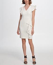 V-Neck Ruffle Detail Sheath Dress