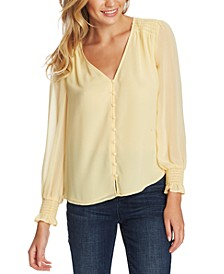 Smocked-Sleeve V-Neck Top