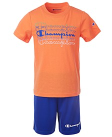 Little Boys 2-Pc. Fade Logo Script T-Shirt & Logo Shorts Set