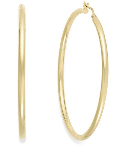 Round Hoop Earrings in 14k Gold Vermeil, 60mm