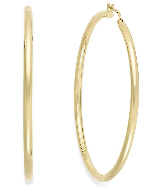 Macy's Round Hoop Earrings in 14k Gold Vermeil, 60mm