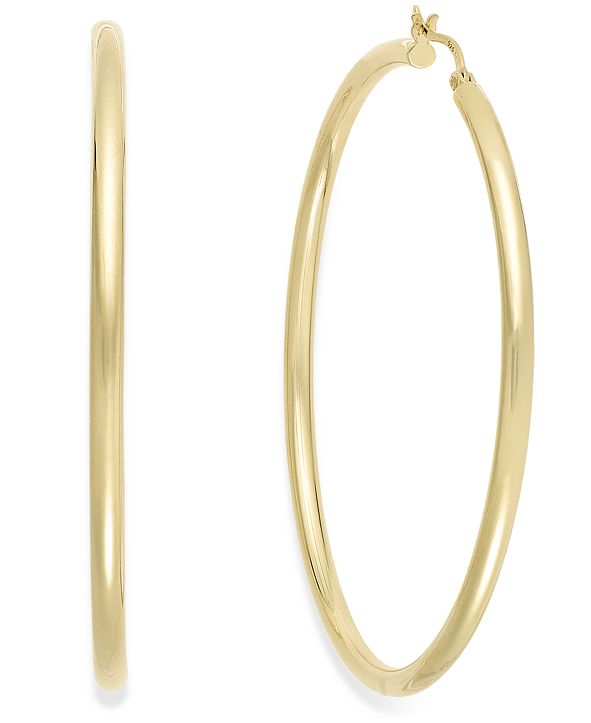 Macy's Round Hoop Earrings in 14k Gold Over Silver