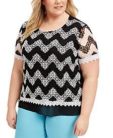 Alfred Dunner Plus Size Checkmate Chevron Lace Top