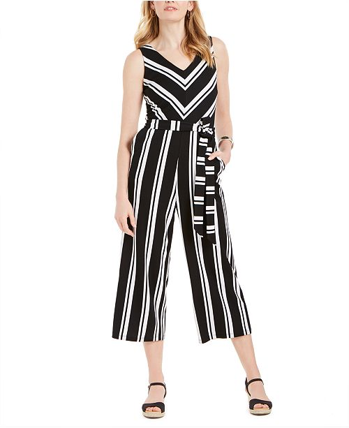Charter Club Striped Belted Jumpsuit, Created for Macy's
