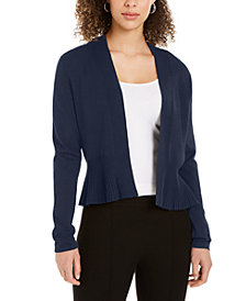 Charter Club Open-Front Peplum Cardigan, Created for Macy's