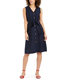 Linen-Blend Button-Front Dress, Created for Macy's
