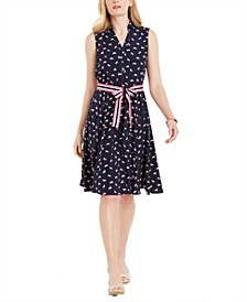 Petite Horse-Print Belted Dress, Created for Macy's