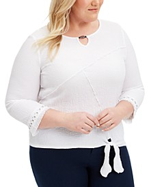 Plus Size Checkmate Tie-Hem Top
