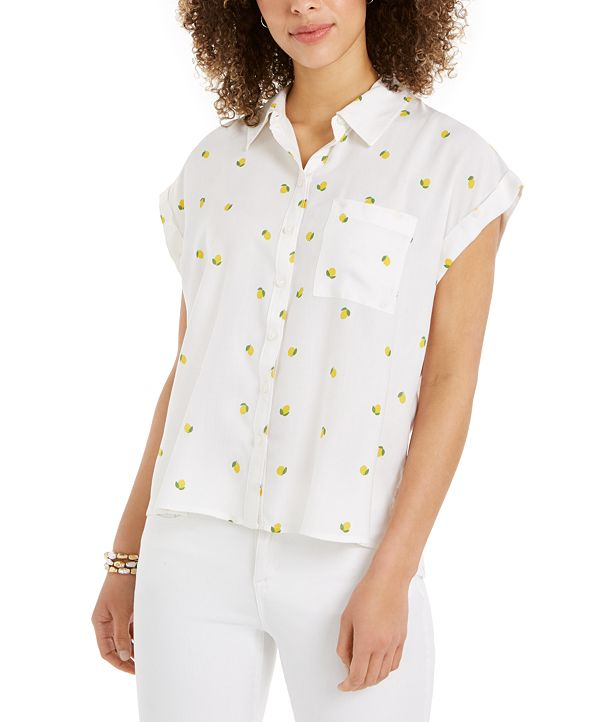 Style & Co Lemon-Print Camp Shirt, Created for Macy's