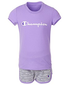 Little Girls 2-Pc. Classic Logo T-Shirt & Allover Script Logo French Terry Shorts Set