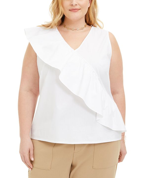 INC International Concepts INC Plus Size Sleeveless Ruffled Top, Created for Macy's