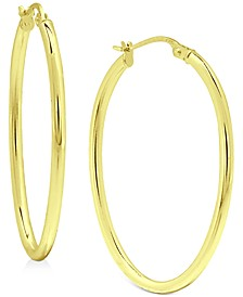 """Polished Oval (1"""") Hoop Earrings in 18K Gold-Plated Sterling Silver, Created for Macy's"""