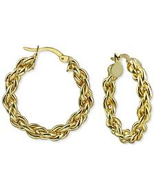 """Medium (1-1/4"""") Rope Hoop Earrings in 18k Gold-Plated Hoop Earrings"""