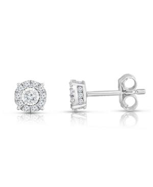 Diamond Halo Stud Earrings (3/4 ct. t.w.) in 14K White Gold