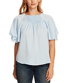 Smocked Flutter-Sleeve Top