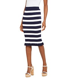 Bold Stripe Ribbed Ruffle-Trim Skirt