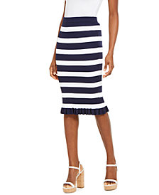 Michael Michael Kors Bold Stripe Ribbed Ruffle-Trim Skirt