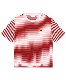 Boxy Fit Striped Cotton Crewneck T-Shirt