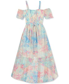 Big Girls Tie-Dye Cold-Shoulder Dress
