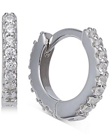 """Extra-Small Cubic Zirconia Huggie Hoop Earrings in Sterling Silver, 0.4"""", Created for Macy's"""