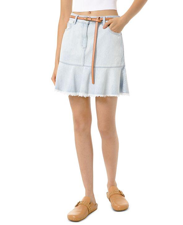 Michael Kors Frayed-Hem Jean Skirt, Regular & Petite Sizes