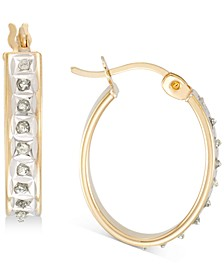 Diamond Accent Oval Earrings in 18k Gold-Plated Sterling Silver, Created for Macy's