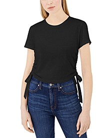 Cotton Ruched Side-Tie T-Shirt