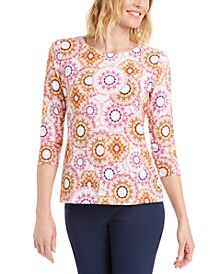 Printed 3/4-Sleeve Jacquard Top, Created for Macy's