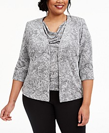 Plus Size Paisley-Print Sparkle Jacket and Top