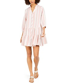 Striped Button-Front Shift Dress