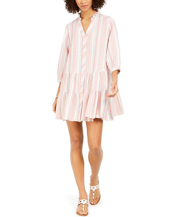 Tommy Hilfiger Striped Button-Front Shift Dress