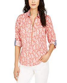 Cotton Printed Zippered Top