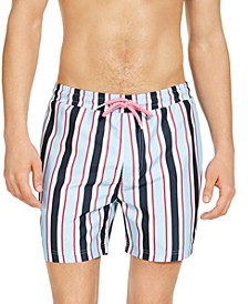 "INC Men's Carter Striped 5"" Swim Trunks, Created for Macy's"