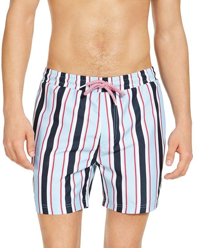 "INC International Concepts INC Men's Carter Striped 5"" Swim Trunks, Created for Macy's"