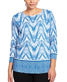 Printed Keyhole Sweater