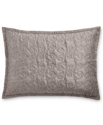 Charcoal ALL FOR YOU 2-Piece Embroidered Quilted Pillow Shams-Standard Size