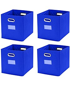 Foldable Storage Bins Basket Cube Organizer with Dual Handles and Window Pocket - 4 Pack