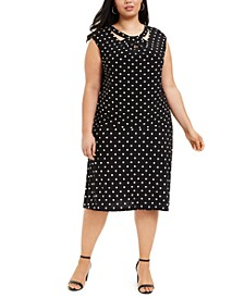 Plus Size Dot-Print Knit Top & Midi Skirt