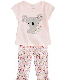 Baby Girls Koala Graphic Top & Floral-Print Capri Pants Separates, Created for Macy's