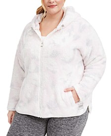 Plus Size Hooded Printed Fleece Jacket