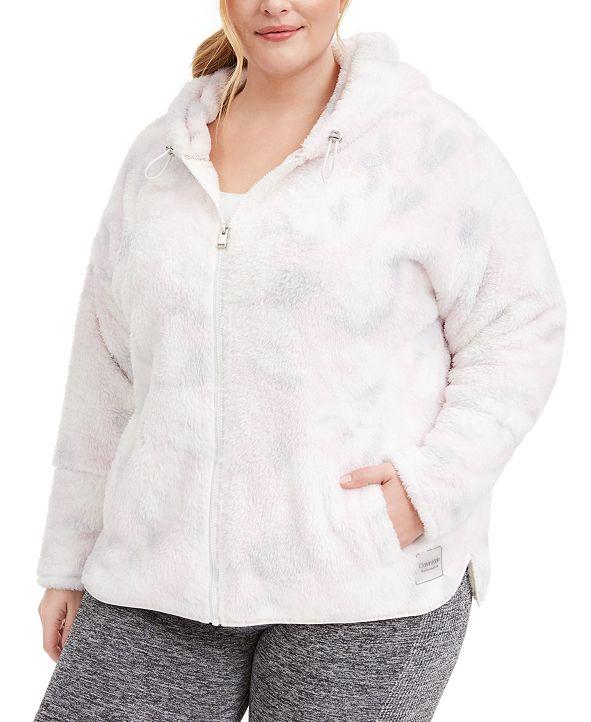 Calvin Klein Plus Size Hooded Printed Fleece Jacket