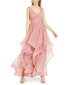 Juniors' Layered-Mesh Gown