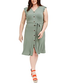 Trendy Plus Size Ruffle-Sleeve Dress